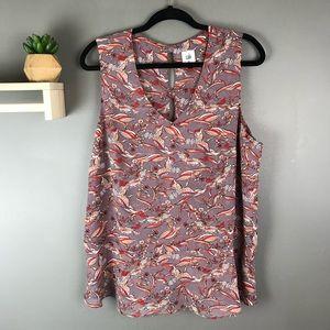 CAbi sleeveless v-neck blouse size XL bird print